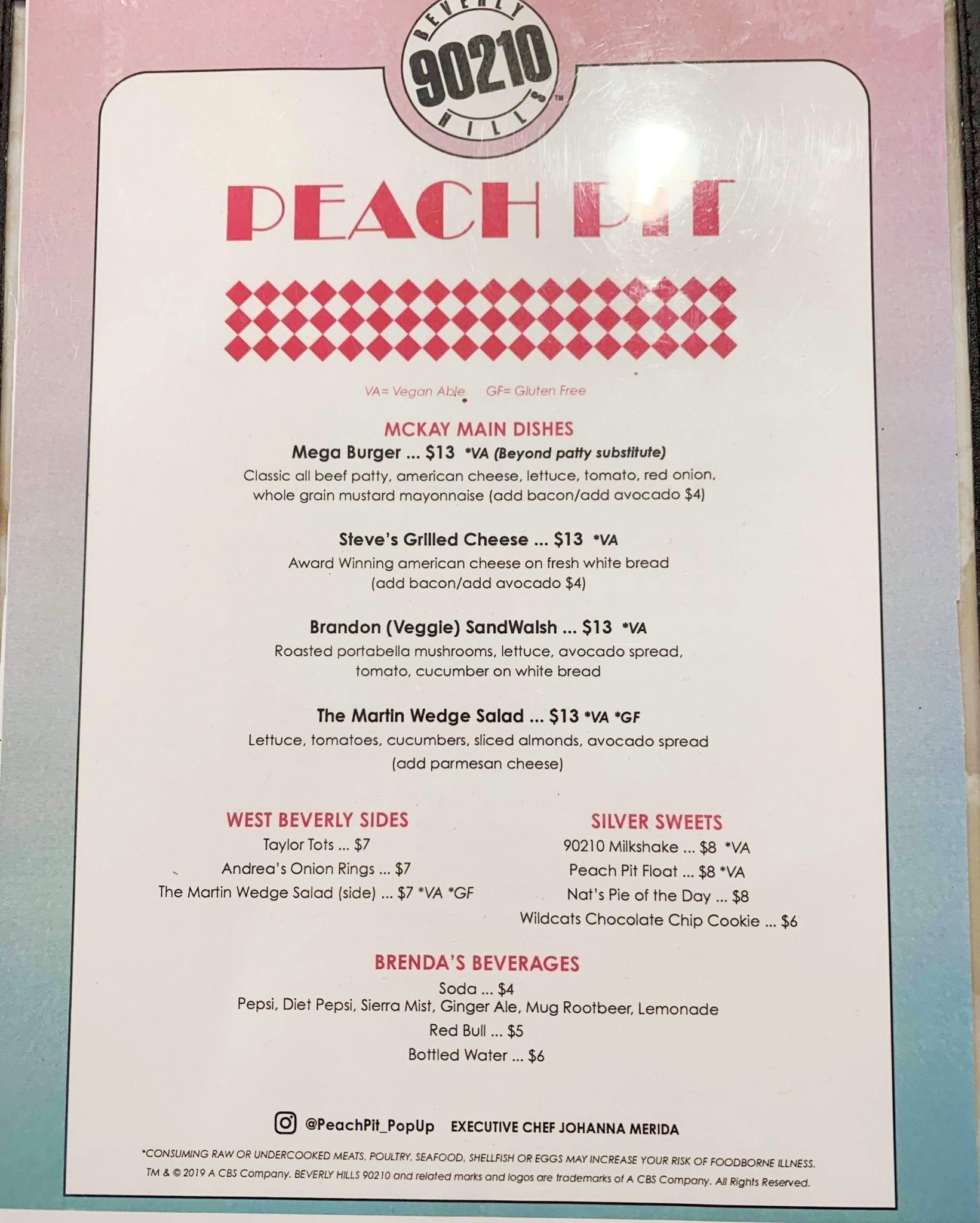 Beverly Hills 90210 peach pit menu